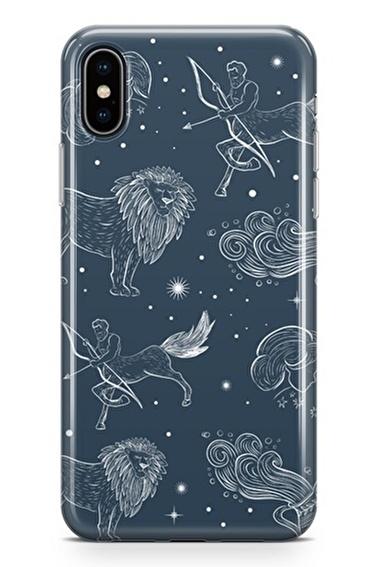 Lopard iPhone Xs Max Kılıf Silikon Arka Kapak Koruyucu Astroloji Burç Haritası Desenli Full HD Baskılı Renkli